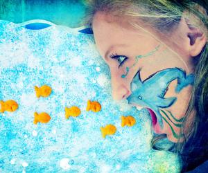 girl, fish, and shark image