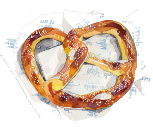 art, food, and pretzel image