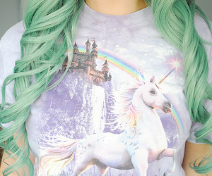 hair, unicorn, and green image