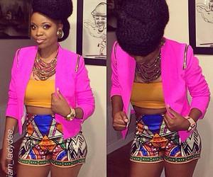 black woman, orange, and pink image