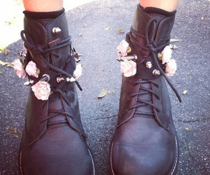 flowers, boots, and black image