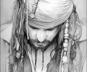 drawing, jack sparrow, and pirate image