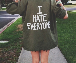 grunge, military jacket, and i hate everyone image