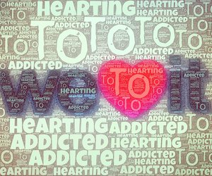 addicted, letters, and heart image