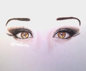 art, brown eyes, and drawing image
