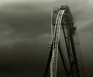 Roller Coaster, black and white, and rollercoaster image