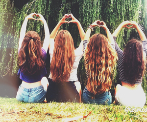 girls, hair, and hearts image