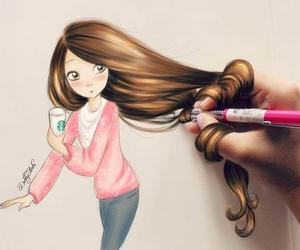 coffee, drawing, and girl image