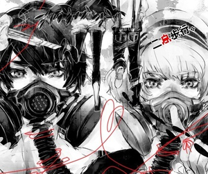 gas mask, monochrome, and vocaloid image