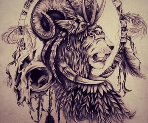 lion, drawing, and tattoo image