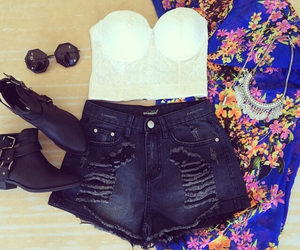 boots, lace, and crop top image