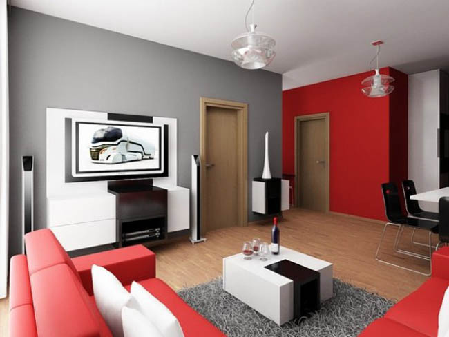 Living Room Designs. The Beautiful Design Of Red And Black ...
