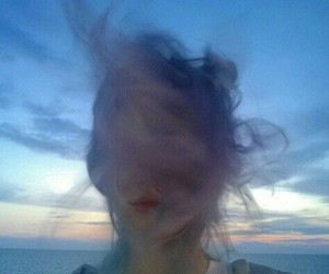 grunge, hair, and sky image