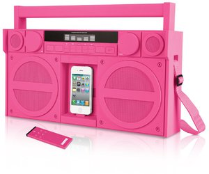 pink, iphone, and speaker image