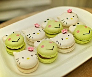food, hello kitty, and macaroons image