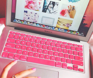 pink, laptop, and we heart it image
