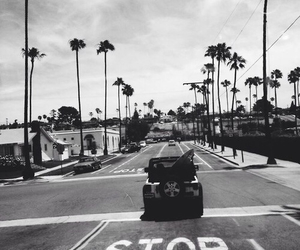 black and white and california image