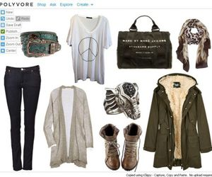clothes, parka, and scarf image