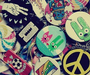 peace, pins, and buttons image