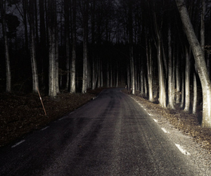 road, dark, and night image