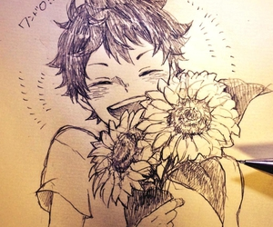 draw, flowers, and cute anime boy image