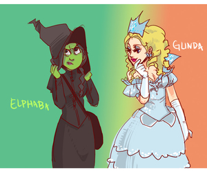 glinda, elphaba, and wicked the musical image