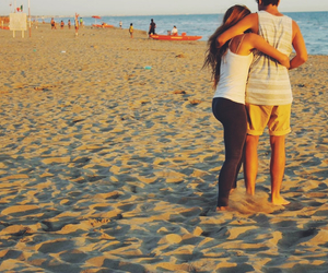 cute couple, hugging, and sea image
