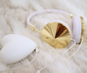 gold, headphones, and white image