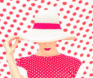 red, hat, and pink image