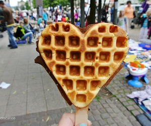 food, heart, and waffles image