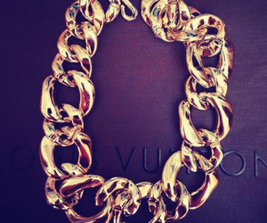 gold, Louis Vuitton, and necklace image