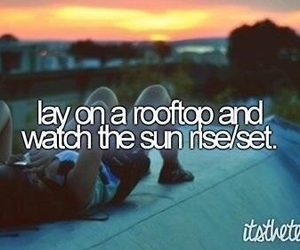 sunset, bucket list, and rooftop image