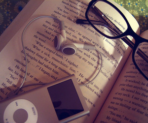 book, music, and glasses image