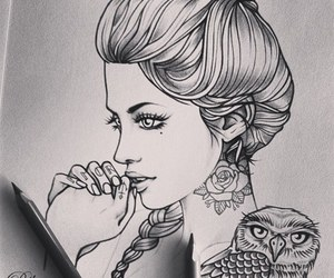 beauty, woman, and drawing image