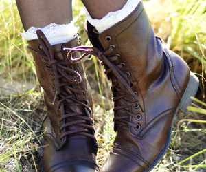 bohemian, combat boots, and fashion image