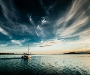 sea, beautiful, and clouds image