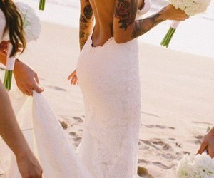 wedding, dress, and tattoo image