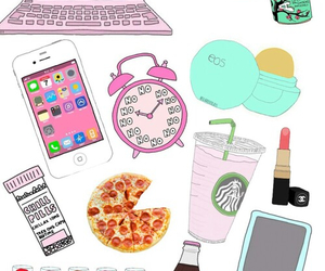 starbucks, iphone, and pizza image