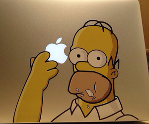 homer, apple, and simpsons image