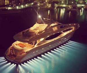 luxury, yacht, and night image