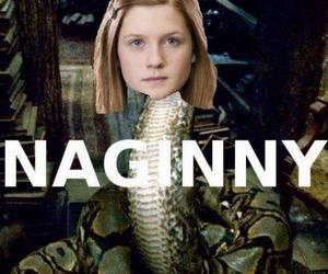 nagini, ginny, and harry pottter image