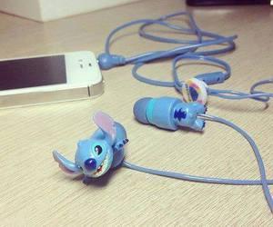 stitch, iphone, and headphones image