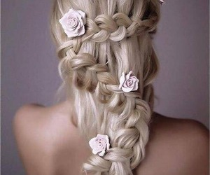 blonde, hairstyles, and roses image