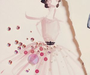 drawing, dress, and pink image