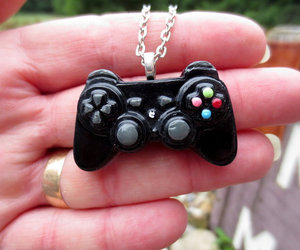 black, controller, and necklace image