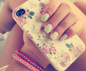 nails, flowers, and girl image