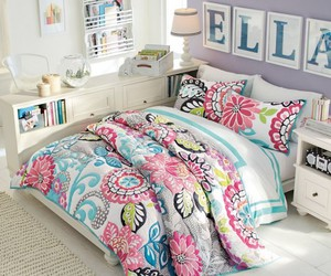 bed, bedroom, and colorful image