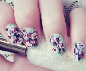 nails, flowers, and girly image