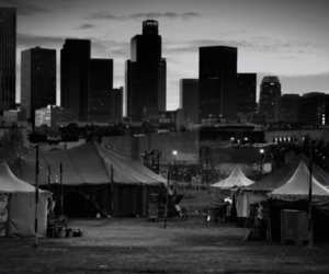 black and white, circus, and city image