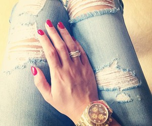jeans, fashion, and gold image